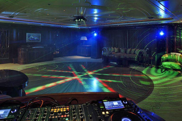 Converted lounge to disco-floor with smoke machine. foredeck golf, Apple TV, Kaleidoscope, karaoke, skylounge serving also as  cinema area.