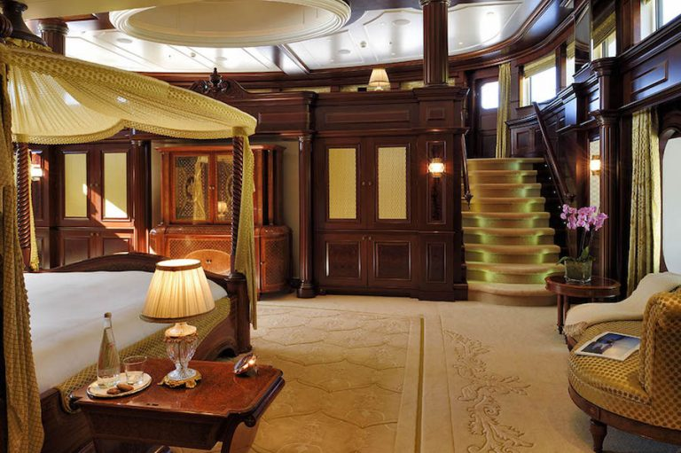 The opulent master stateroom is located on the main deck offering an 180o vista lounge with observatory at a raised area.