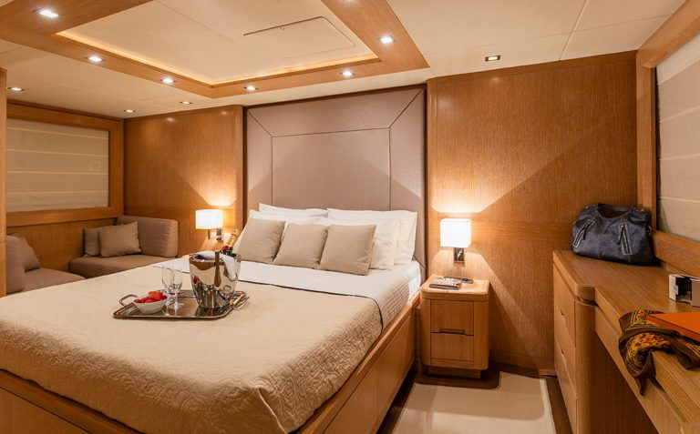 Fabulous interior for up to 10 guests in 4 cabins.
