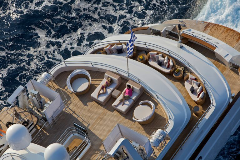 Sumptuous huge decks host large families or guests from corporate events during cruising or at anchor, or at a static charter.