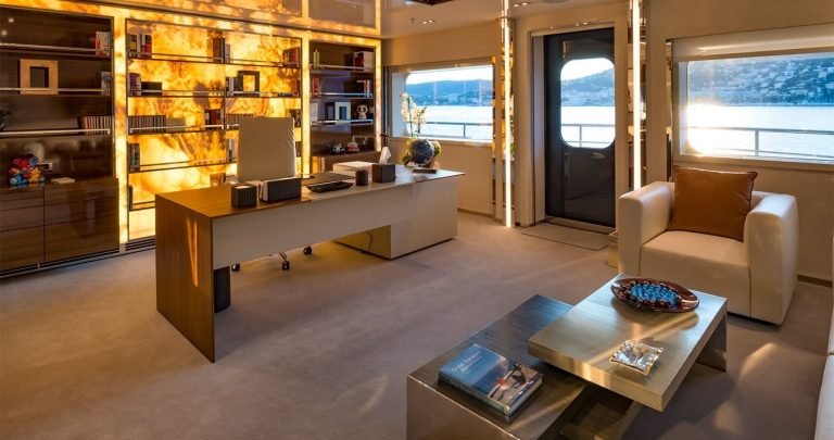 Master Stateroom features a lounge on the upper deck, a marvelous bathroom and walk-in wardrobe, and a devoted study with own entrance.