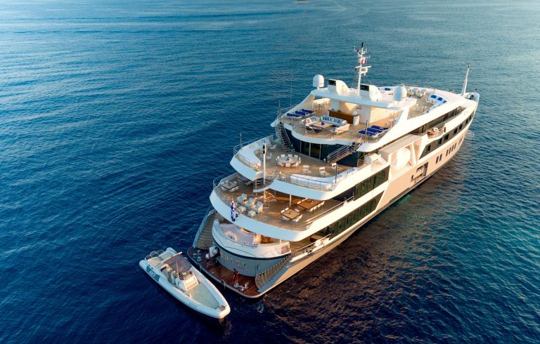 Exterior design by the brand studio of Luiz DeBasto transforming a more classic vessel to a Giga beauty with spacious and diverse areas in all decks.