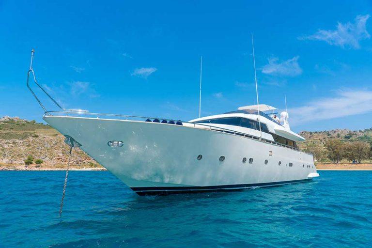 Maiora fast-planning yacht.