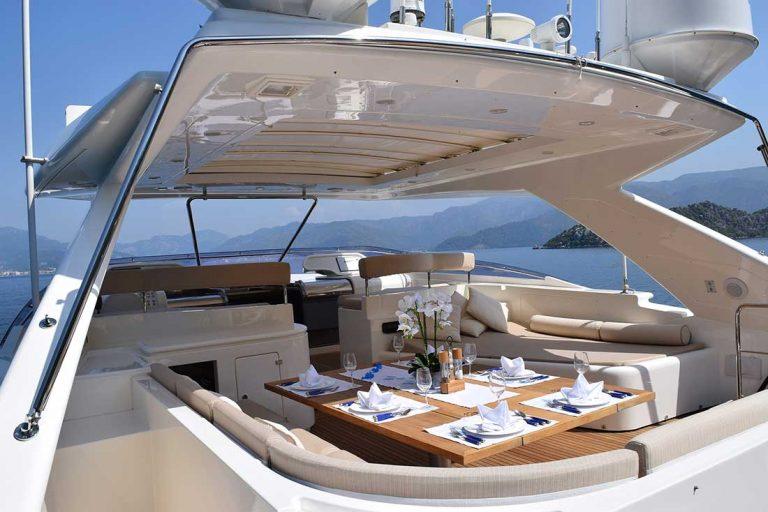 Hardtop, 12-seater dining alfresco, sunpads.