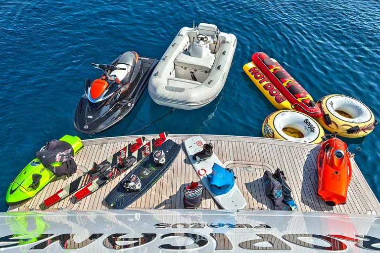 A wide range of water toys on board.